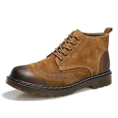Hombres Botas cómodas Botas de Cuero de Vaca Hombres Botines de Moda Botas de Estilo británico Brogue Zapatos para Hombres: Amazon.es: Zapatos y ...