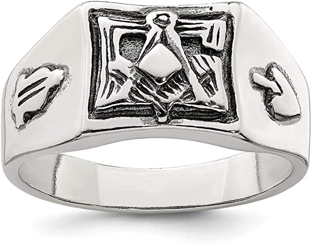 FB Jewels Solid Sterling Silver Antiqued Masonic Ring