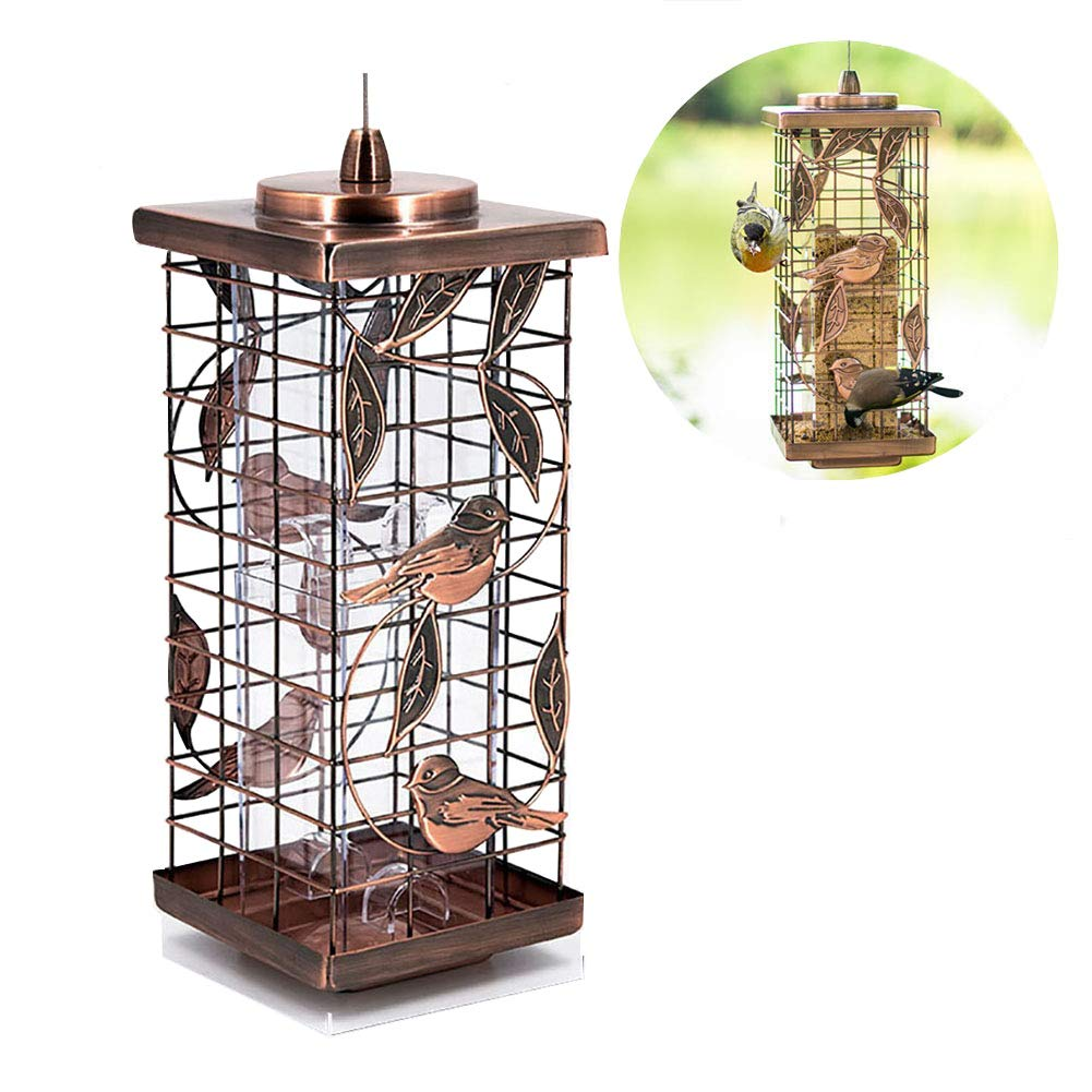 Brown MC.PIG Bird Feeders for Outdoor Grid-like Wild Bird Feeder, Domestic, Outdoor Bird Feeding Device for Sparrows, Swallows (color   BROWN)
