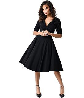 203556afedf Amazon.com  Unique Vintage 1950s Style Black Criss Cross Halter ...
