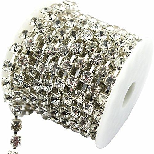 AEAOA 1 Yard 8mm Crystal Rhinestone Trims Chain Wedding Dress Sewing Craft Embellishments (Silver+Clear Rhinestone)