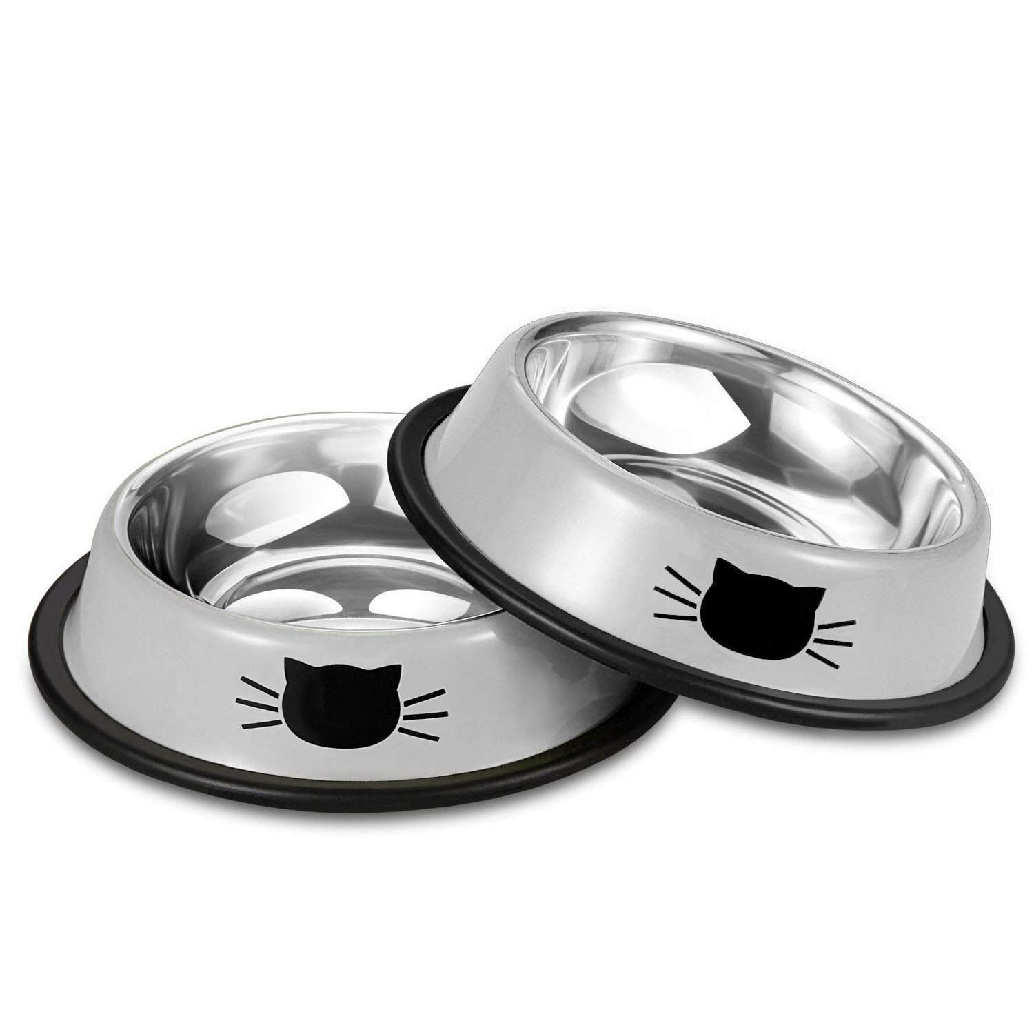 Comsmart Stainless Steel Pet Cat Bowl Puppy Dish Bowl with Cute Cats Painted Non-Skid for Small Dogs Cats (2 Pack) (Grey Grey)