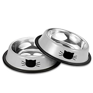 Comsmart Stainless Steel Pet Cat Bowl Kitten Puppy Dish Bowl with Cute Cats Painted Non-Skid for Small Dogs Cats Animals (2 Pack)