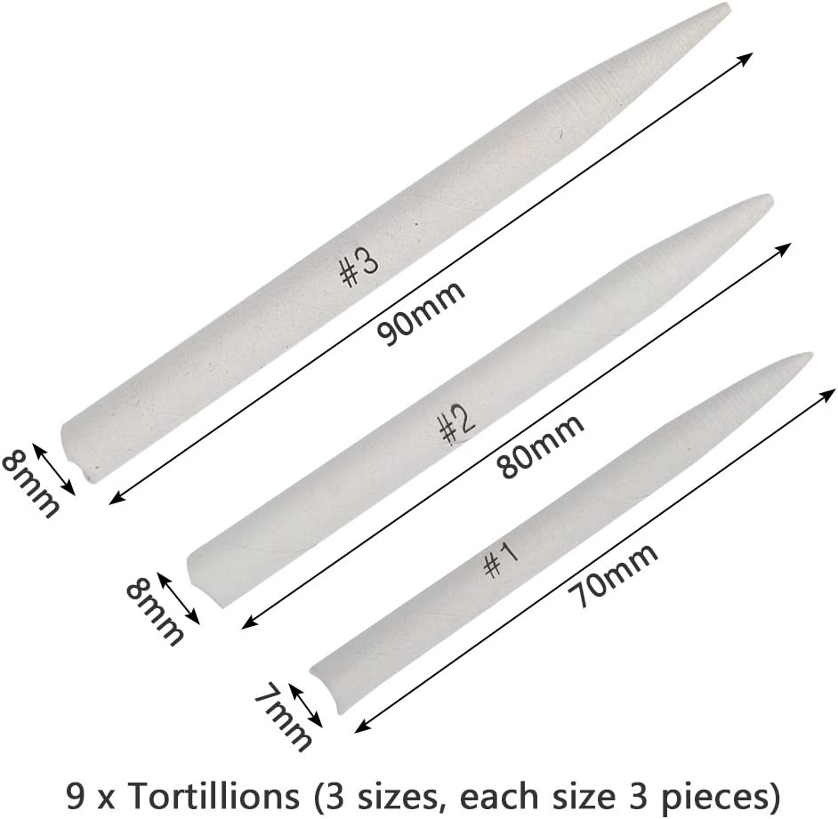 RODPLED Blending Stumps and Tortillions Set for Art Sketch Drawing with 2 pcs Sandpaper 17pcs Pencil Sharpener and 1 Pencil Extension Tool