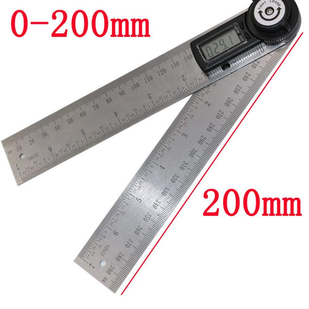 Metal Protractor Ruler,Teepao 360 Protractor,Digital Angle Ruler LCD Goniometer Angle Gauge 200mm / 7inch Stainless Steel Ruler with Zeroing/Locking Function by Teepao (Image #3)