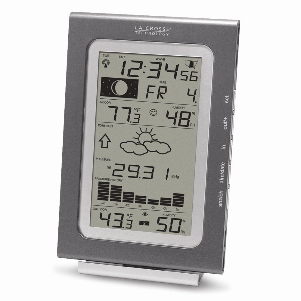 Best Designer Jewelry Silver-tone Wireless Forecast Station w/History