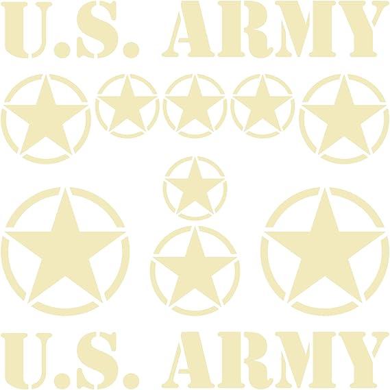 Greenit Set Usa Sterne Schriftzug Us Army Mp Jeep Aufkleber Tattoo Auto Deko Folie Sahara Sand Matt Auto