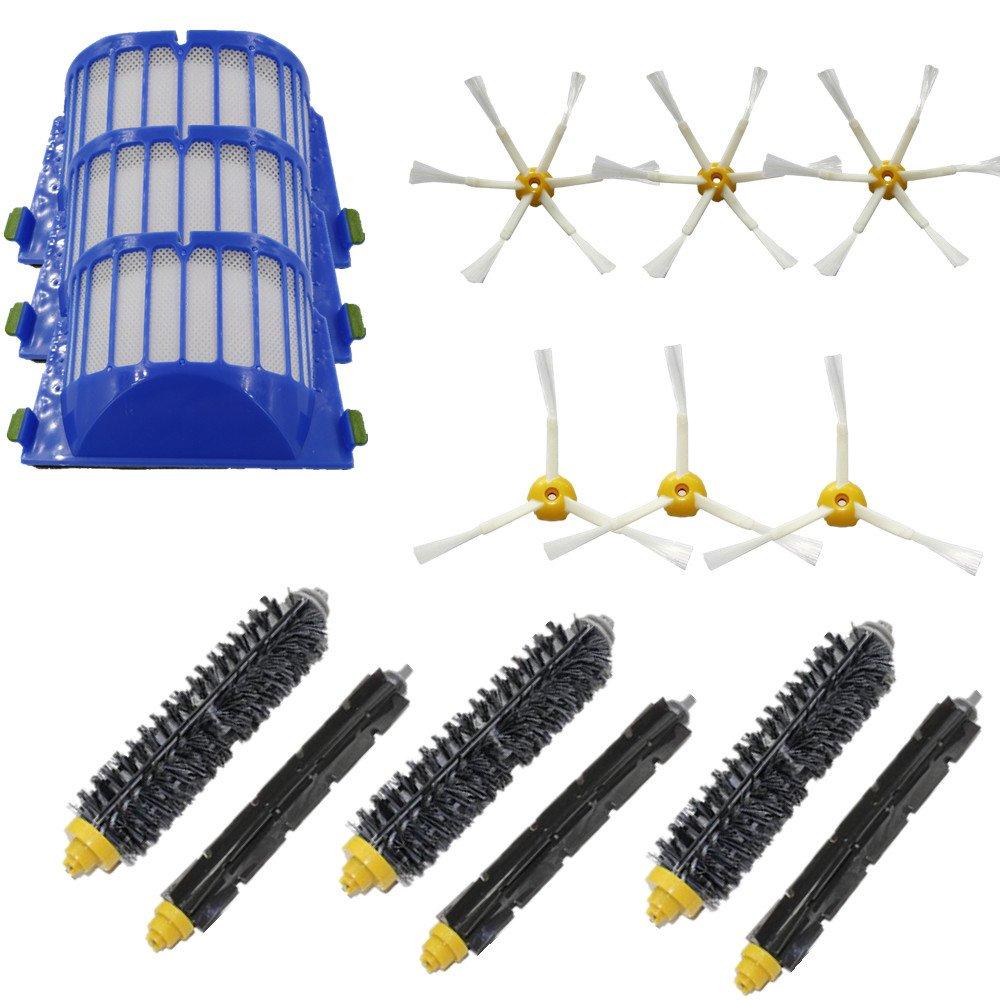 LOVE(TM) Bristle & Flexible Beater Brush 3-Armed&Brush 6-Armed &Aero Vac Filters kit for Robot 600 Series 620 630 650 660