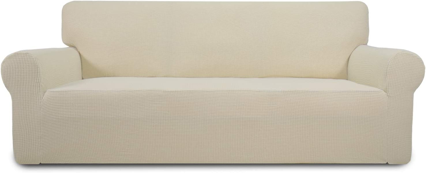 Easy-Going Stretch Sofa Slipcover 1-Piece Sofa Cover Furniture Protector Couch Soft with Elastic Bottom Anti-Slip Foam Kids, Spandex Jacquard Fabric Small Checks(Sofa,Ivory