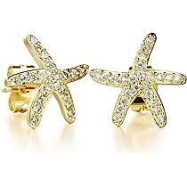 40aebc76c ... Tidoo Jewelry 18k Yellow Gold Plated Starfish Crystals Studs Earring