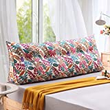 Q&Q Bay window long pillow,Household cotton canvas triangle cushion,Bedroom bed back sofa lumbar pillow washable -E 100x50cm(39x20inch)