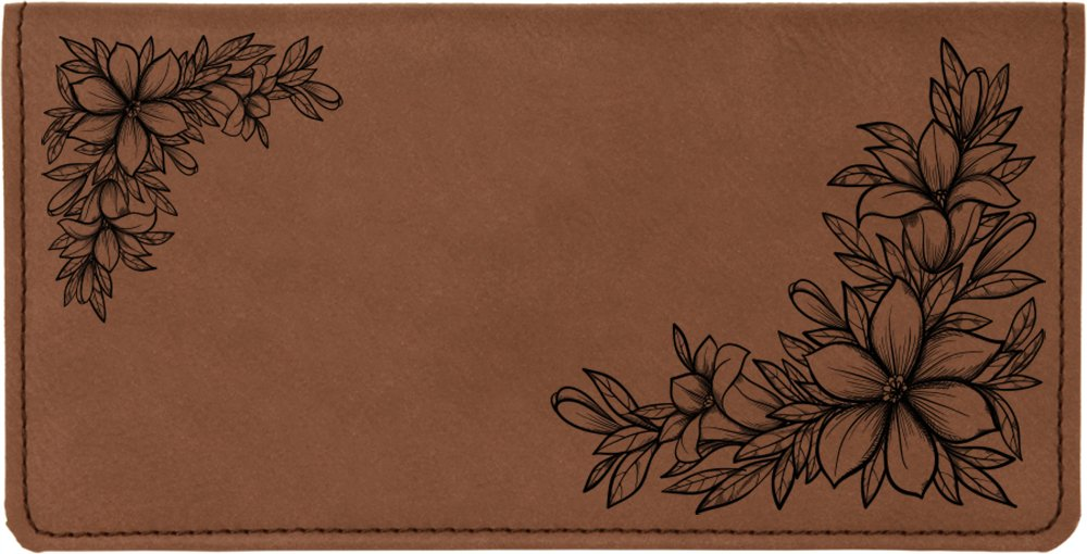Floral Filigree Laser Engraved Leatherette Checkbook Cover CAROUSELCHECKS