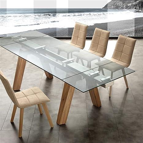 Tavolo allungabile in vetro - Cervino - Gambe legno massello ...