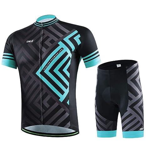 32115d9ba708 SKYSPER Completo Abbigliamento Ciclismo, Set Abbigliamento Ciclismo per  Coppia Ciclismo Maglia Manica Corta + Pantaloni