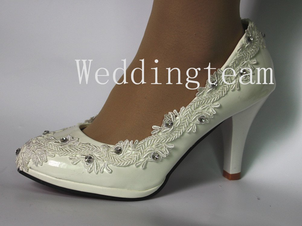 Sweet women white ivory pearl lace crystal Wedding shoes Bridal heels pumps size 5-10