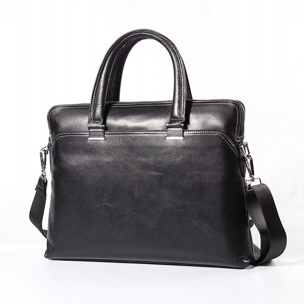 Color : Brown RICHARD BALDWIN First Layer Leather Cross Section Square Solid Color Briefcase Leather Mens Business Tote