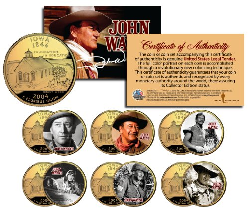 JOHN WAYNE MOVIES Colorized Iowa 24K Gold Plated Quarters US 6-Coin Set LICENSED