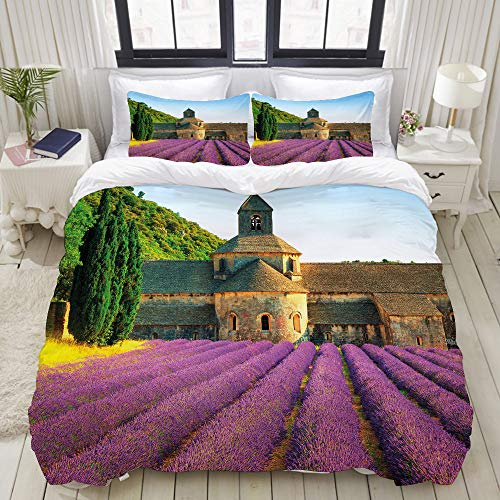 VANKINE 3PC Bedding Set Abbey of Senanque in France Architecture Countryside Blooming Rows Scenic 1 Duvet Cover with 2 Matching Pillowcases Apartment Bedroom Decor Full/Queen