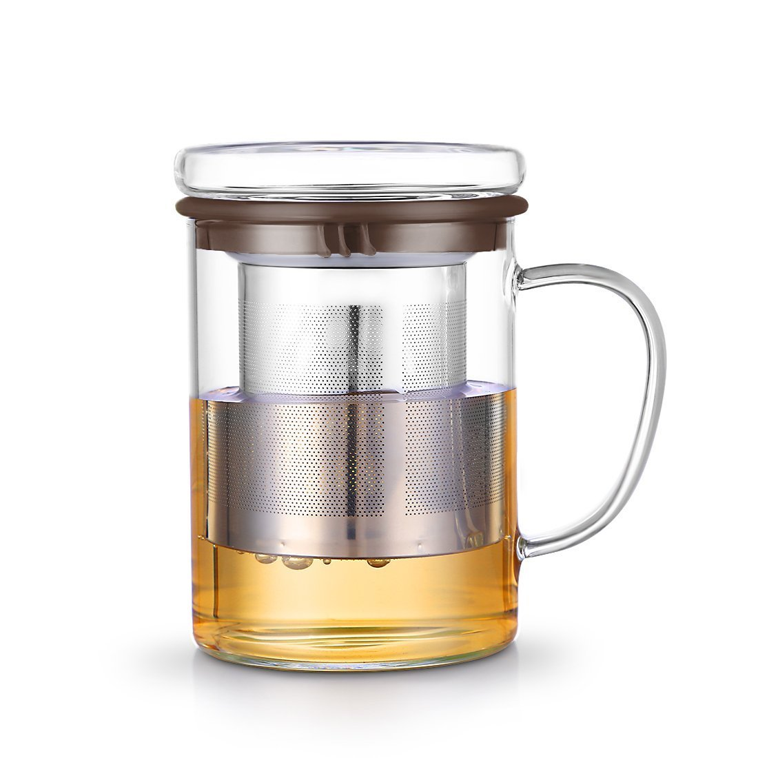 JIAQI 13.6 Ounces Glass Tea Mug With Lid and Stainless Steel Infuser, Borosilicate Glass Tea Cup, 3 Colours Available (Coffee)