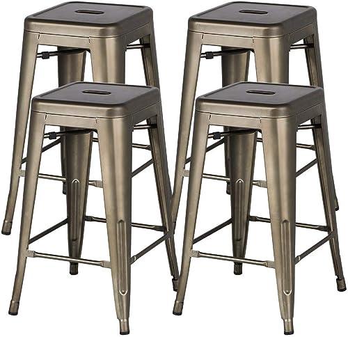 Topeakmart 24inch Metal stools Vintage Counter Height Kitchen Barstools Set of 4 High Backless Stackable Bar Stools-Gunmetal