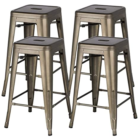 Fantastic Yaheetech 24 Metal Bar Stools Counter Height Barstools Set Of 4 High Backless Industrial Stackable Metal Chairs Indoor Outdoor Gun Metal Lamtechconsult Wood Chair Design Ideas Lamtechconsultcom