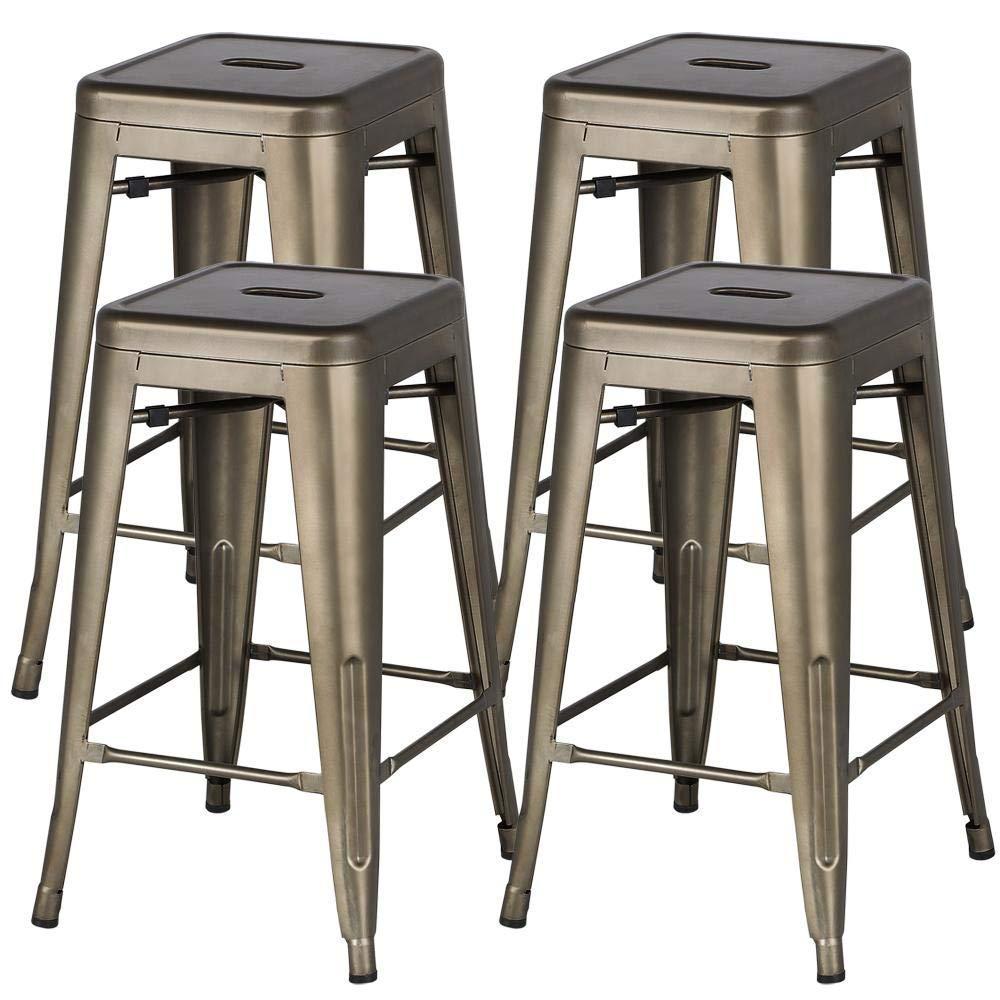 Yaheetech 24'' Metal Bar Stools Counter Height Barstools Set of 4 High Backless Industrial Stackable Metal Chairs Indoor/Outdoor,Gun Metal