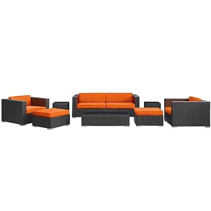 Amazon Com Trendy Designer Dk Brown Sofa Package With Orange