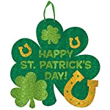 "Shamrock Shaped ""Happy St. Patrick's Day"" Hanging Sign - St. Patricks Day Decorations"