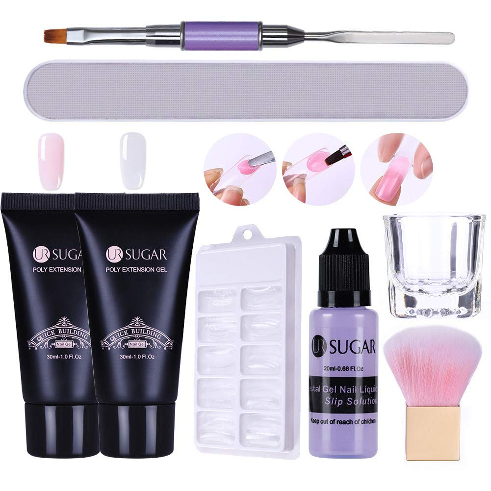 CoulorButtons 2Pcs UR SUGAR Quick Building Poly Builder UV Gel With Solution Liquid Container Finger Extension Nail Art Tools Set, Clear + Soft Pink