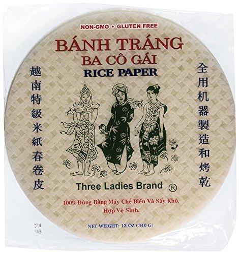 (Three Ladies Spring Roll Rice Paper Wrappers Round 25cm (3pks))