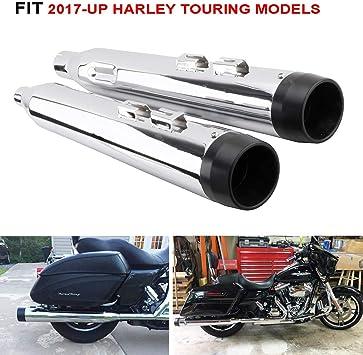 Black Slip-On Mufflers Megaphone Classic Exhaust For 2017-2019 Harley Touring