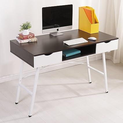 Soges 47u0026quot; Computer Desk Office Desk With Drawers Workstation Desk  Writing Desk Modern Desk,