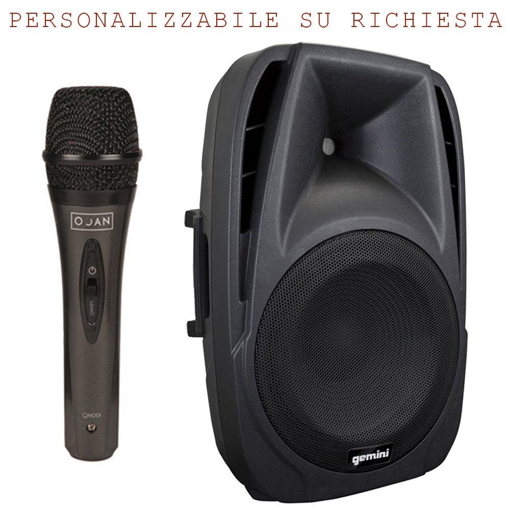 Karaoke Bundle 801 - set impianto karaoke composto da cassa amplificata 300watt + microfono con cavo per club, pub. Gemini - OQAN