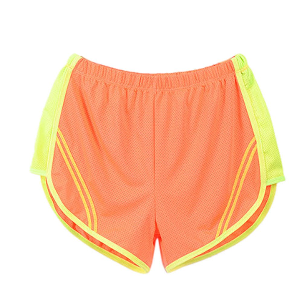 TRENDINAO Women Yoga Sports Shorts, Womens Running Quick Dry Sport Short Fitness Athletic Apparel Pants Orange
