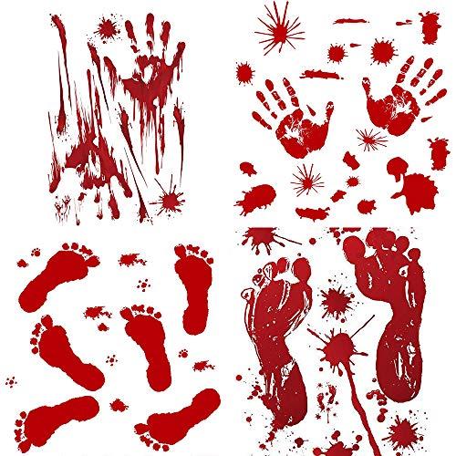 YJZ Bloody Sticker Graphic Splatter Fingerprints Footprints for Halloween Costume Decor Decal Sticker (Blood Handprint and Footprint) Pack of 8