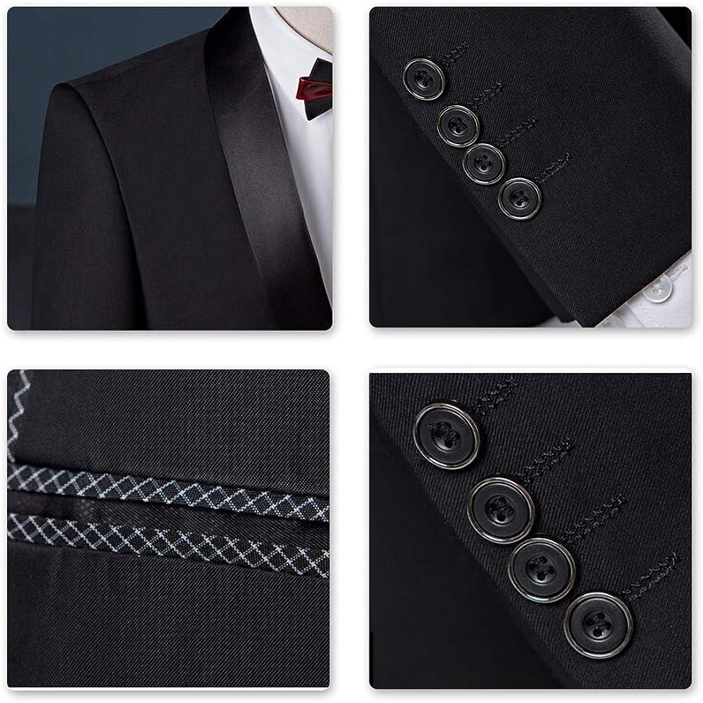 Sliktaa Herren Anzug 3 Teilig Slim Fit Reihe einfarbig Stoff Business Shawl Kragen