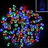 Williamtai 200LED Solar Power LED String Fairy Lights Waterproof Solar Powered Party Xmas Outdoor Garden Tree Decor Lamp Ni-MH battery1.2V/1000mAh Battery (Multicolor)