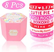 Valentines Day Gift for Kids with Rubber Wristband and Gift Box, Funny Favors Toys and School Classroom Party Supplies, Valen