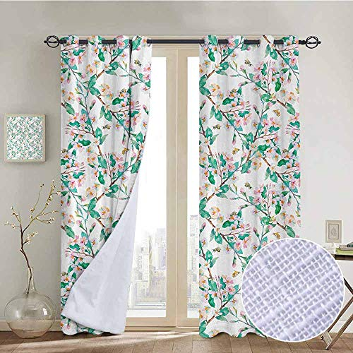 - NUOMANAN Blackout Curtain Panels Window Draperies Flower,Pink Cherry Blossoms Pattern with Bumble Bees Japanese Spring Themed Chic Print,Pink Green,for Bedroom, Kitchen, Living Room 84