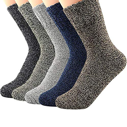 Century Star Women's Vintage Winter Soft Wool Warm Comfort Cozy Crew Socks 5 Pack 5 Pairs Solid Color from Century Star