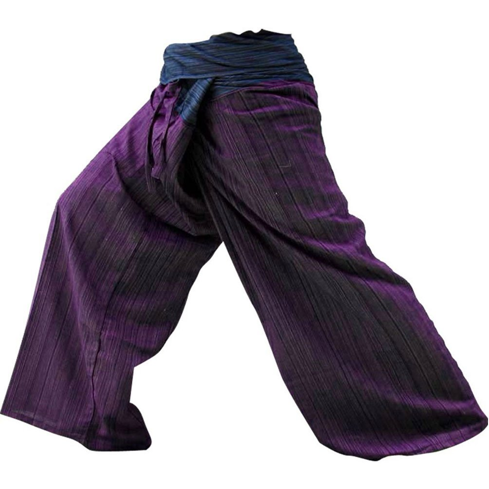 Deluxe Adult Costumes - Blue & maroon cotton 2-tone Thai fisherman slop pirate pants