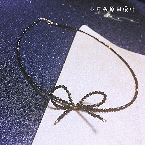 all stone 14k gold _bow_injection_ natural black _spinel_ necklace Pendant _super_ flash collar choker _ ()