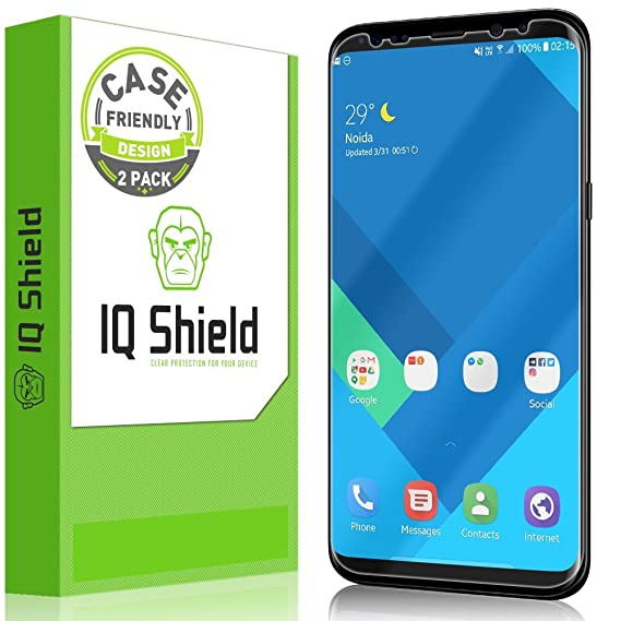 [2-Pack] IQ Shield LiQuidSkin Clear [Case Friendly] Screen Protector for  Samsung Galaxy S8 Bubble Free Film [Not Glass]