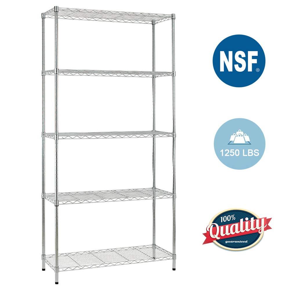 5 Shelf Wire Shelving Unit Garage Heavy Duty Height Adjustable Commercial Grade NSF Certification Utility Rolling Steel Layer Rack Organizer Kitchen by BestOffice