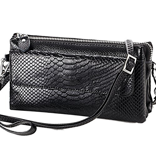 ZXCB Embrague De Embrague De La Manera De La Mujer Multi-bolsillo Cross-Body Bags Wallet Retro Casual Bolso De Hombro Bolso Suave Black