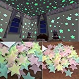 Glow In The Dark Wall Stickers,HOMEBABY 100PC Kids Bedroom Fluorescent Glow In The Dark Stars Wall Stickers Rainbow For Boys Girls Light stickers Glow stars Kitchen Bathroom Bedroom Living Room Modern Home Decor (100PC, Multi)