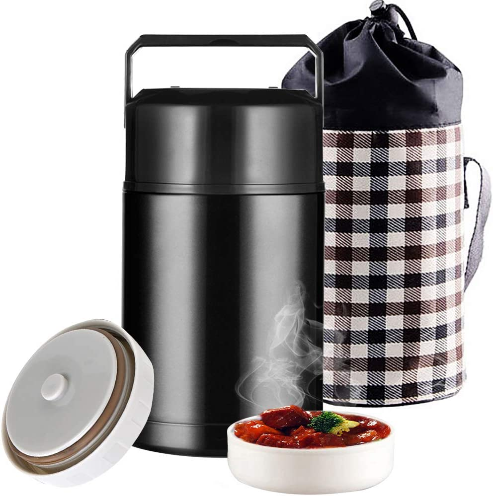 Insulated Food Jar, 33oz Food Thermos for Hot Cold Food, Stainless Steel Vacuum Insulated Thermal Lunch Container Lunch Box with Lunch Bag Handle,Leak Proof Wide Mouth for Kids Adult (Black)