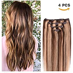 "14"" Clip in Hair Extensions Remy Human Hair for Women - Silky Straight Human Hair Clip in Extensions 50grams 4pieces #4-27 Color"