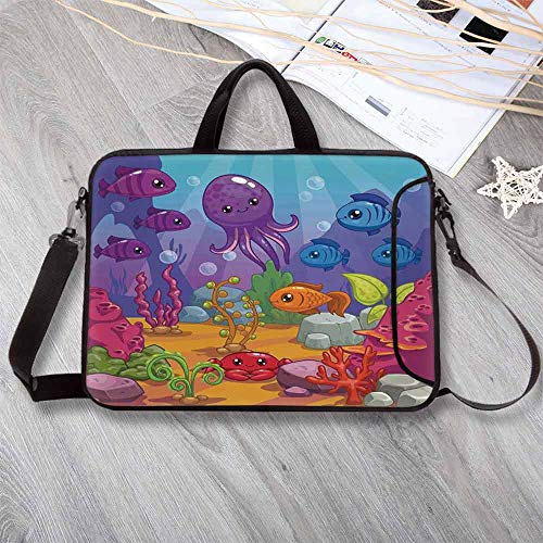 Whale Printing Neoprene Laptop Bag,Underwater World Aquarium Cartoon Octopus Reef Seaweed Stones Bubbles Illustration Laptop Bag for 10 Inch to 17 Inch Laptop,8.7