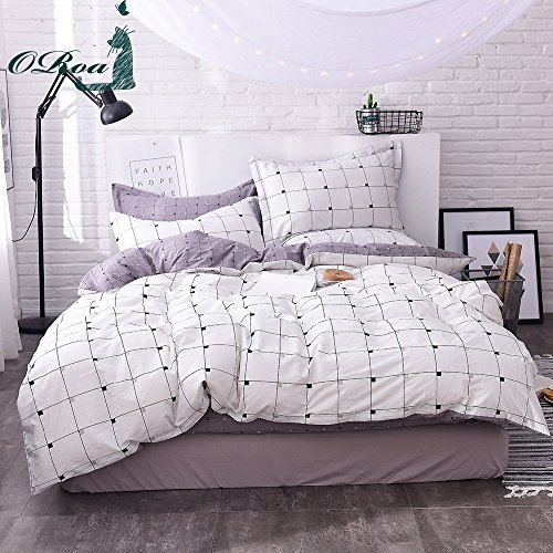 ORoa light-weight Cotton Duvet Cover Sets for Teens Adults 3 Piece reversible Plaid family home Textile Bedding Set along with Pillow Shams (Twin, model 6)